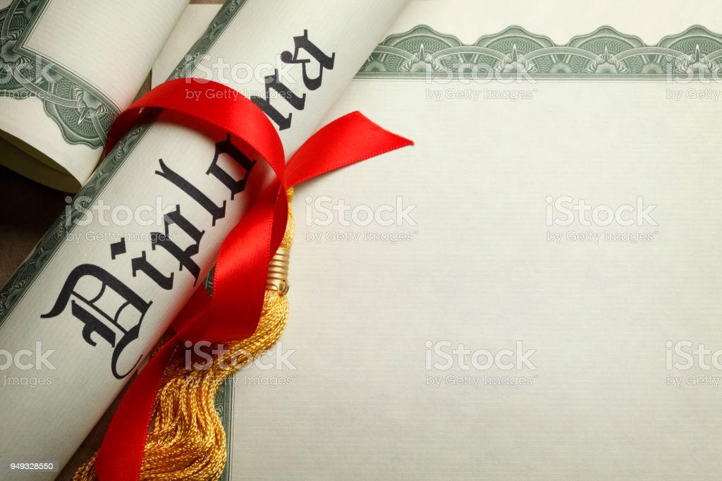 rolled up diploma loosely held toghether with red ribbon on blank certificate of achievement royalty
