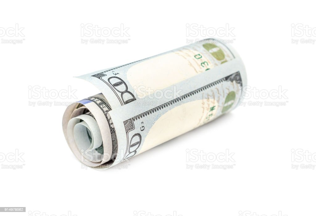 rolled up dollar bill on white background business concept stock