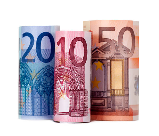 Rolled up eighty euro stock photo
