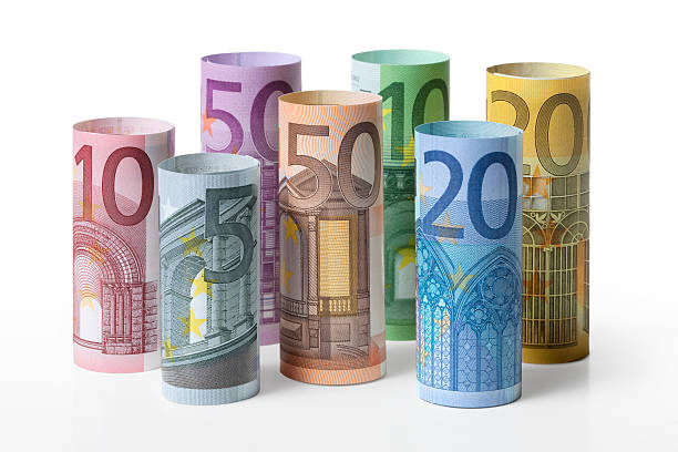 Rolled up euro banknotes stock photo