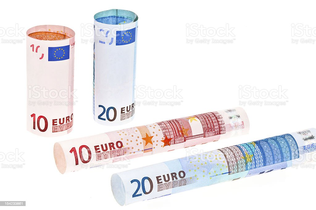 Rolled up Euro Notes stock photo