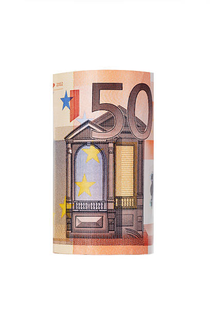 Rolled up fifty euro Rolled up fifty euro isolated on white Background fifty euro banknote stock pictures, royalty-free photos & images