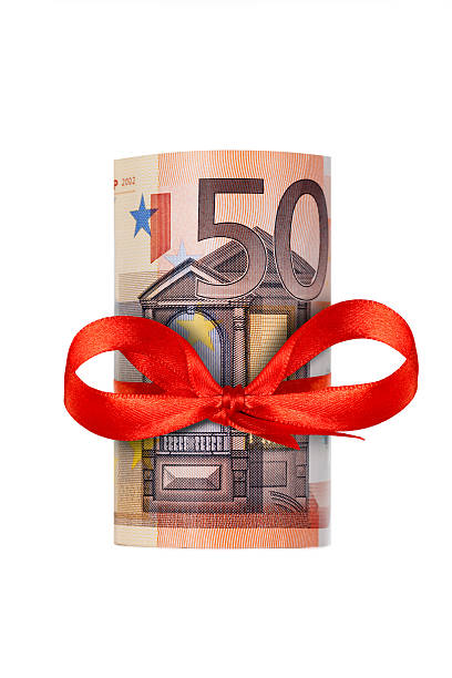 Rolled up fifty euro stock photo