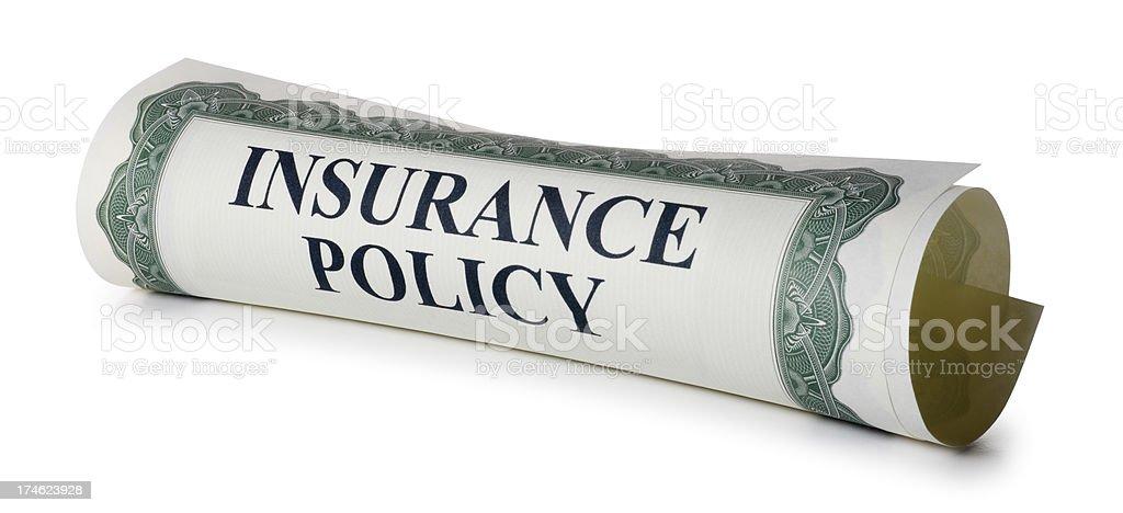 Rolled Up Insurance Policy Isolated On White Background royalty-free stock photo