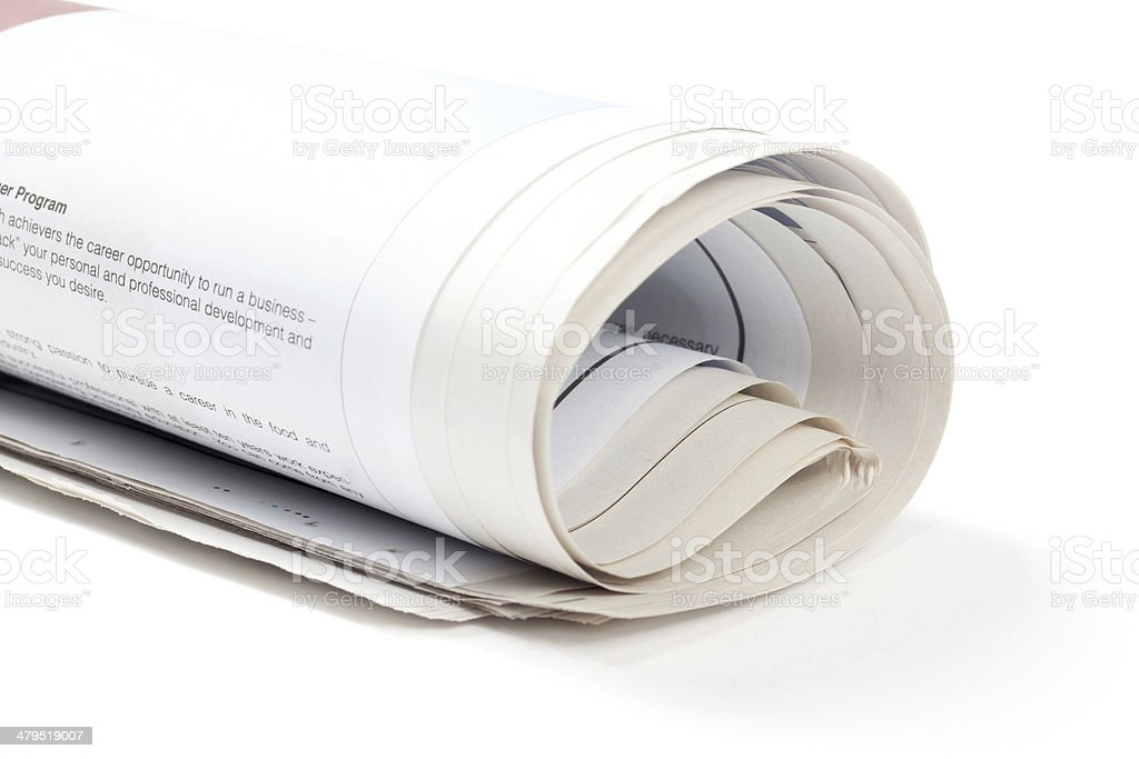 Rolled Up Newspaper royalty-free stock photo