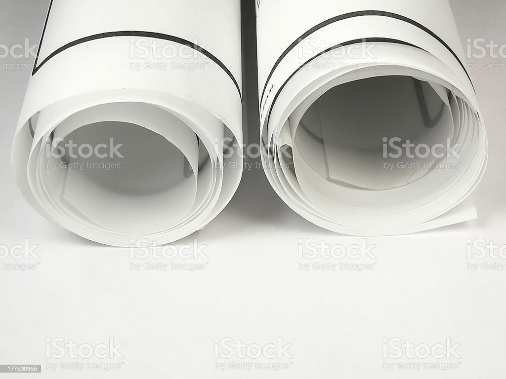 Rolled up Plans royalty-free stock photo