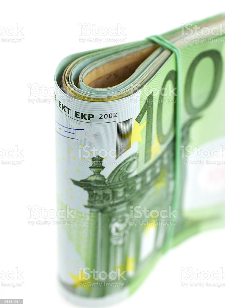 rolled with rubber euro notes royalty-free stock photo