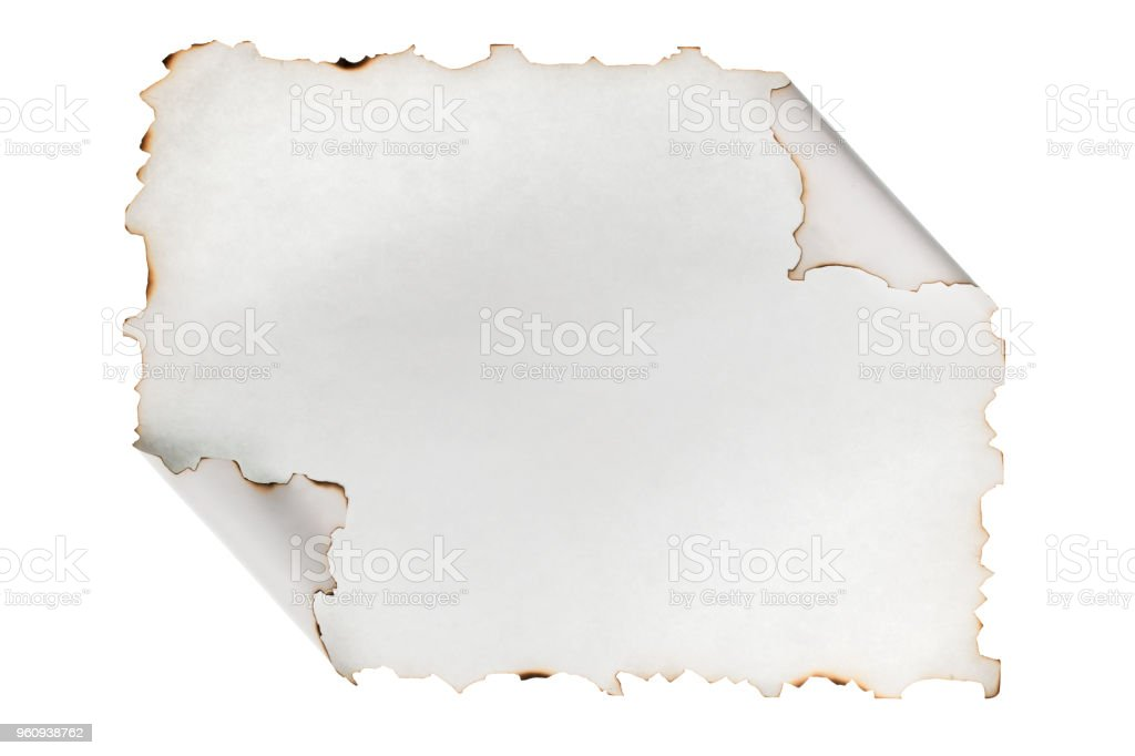 Aufgerollten Zettel mit den verbrannten Rändern. Isoliert - Lizenzfrei Alt Stock-Foto