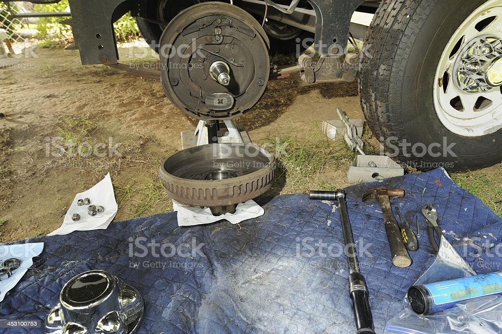 RV roller bearing and brake service stock photo