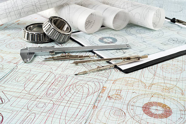 롤러 베어링을 갖는, 버니어 callipers, compasses, 클립보드가 및 도면 스톡 사진