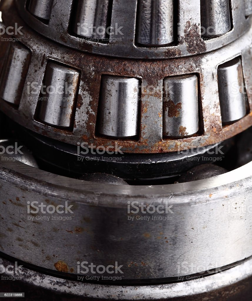Roller bearing with rust stock photo