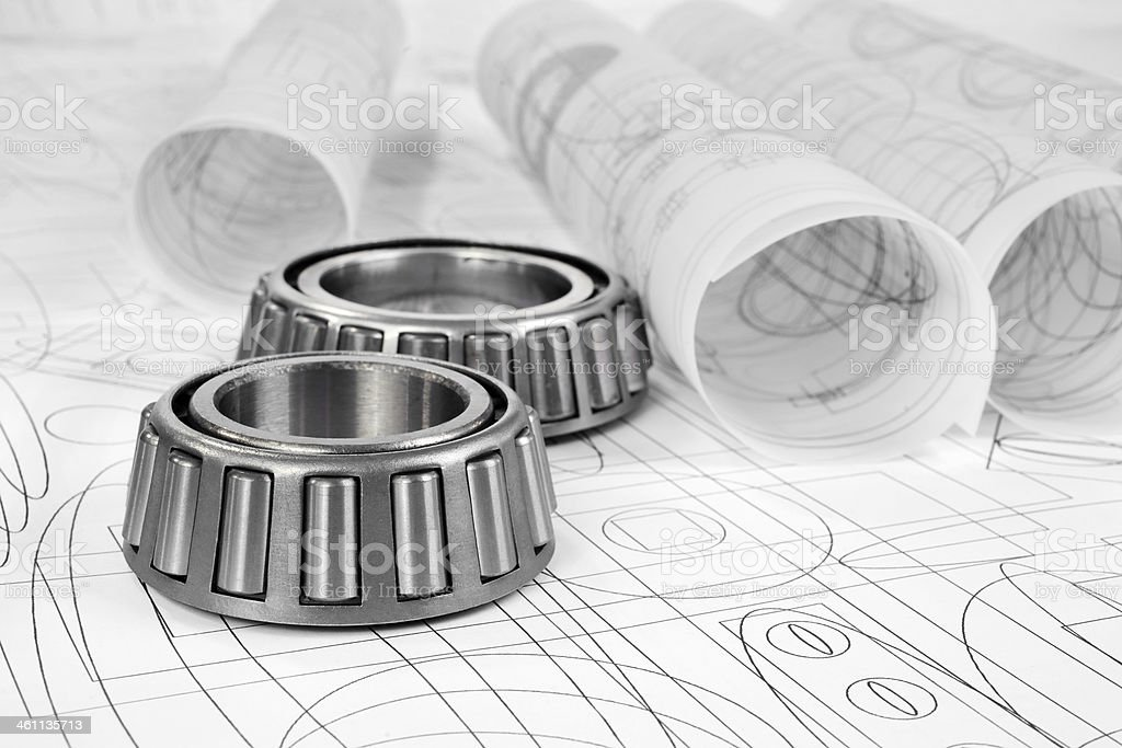roller bearings and drawings stock photo