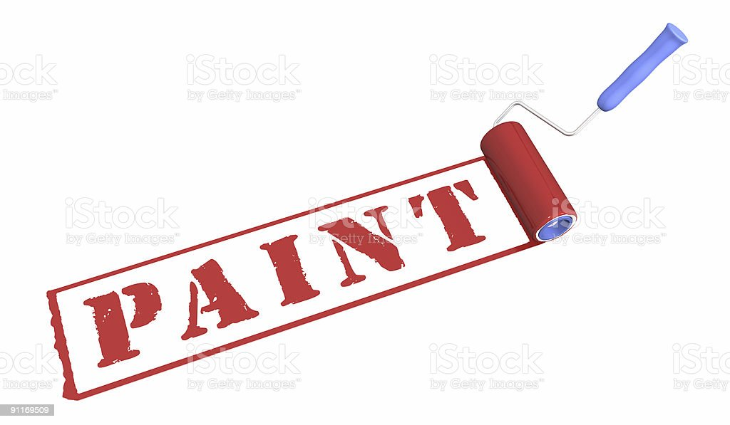 Roller brush and inscription 'paint'. royalty-free stock photo