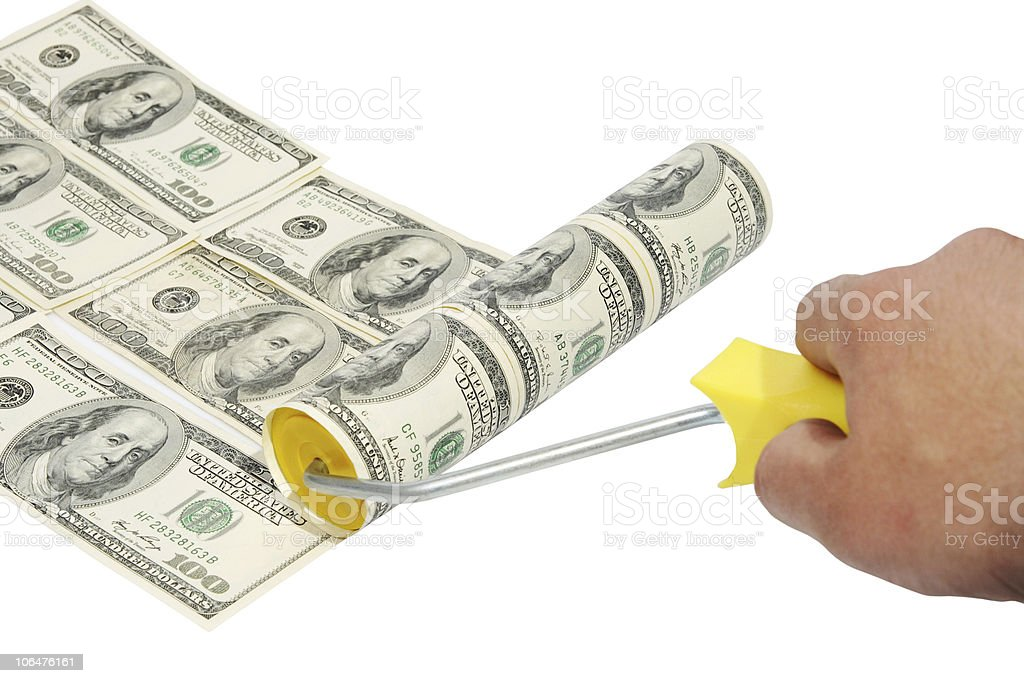 Roller brush with dollar paint royalty-free stock photo