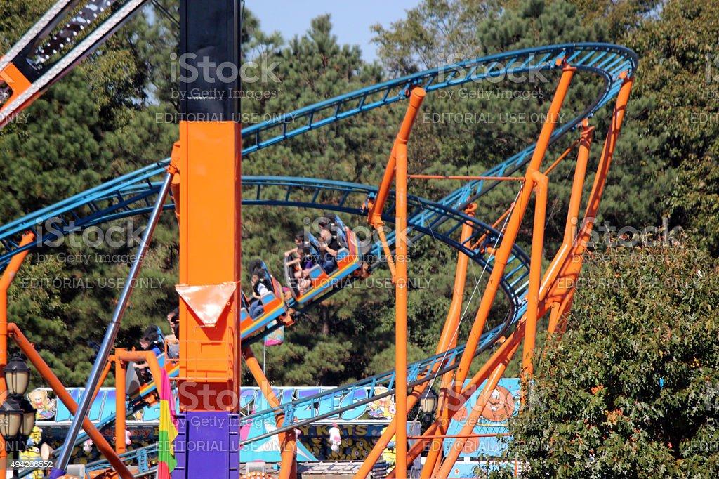 Roller Coaster Amusement Ride at the North Carolina State Fair stock photo
