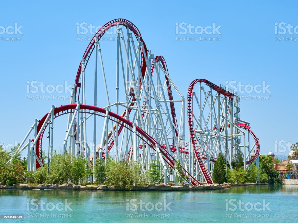 Roller coaster at funfair stock photo