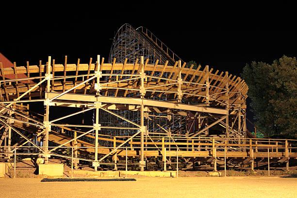 Roller coaster at night stock photo