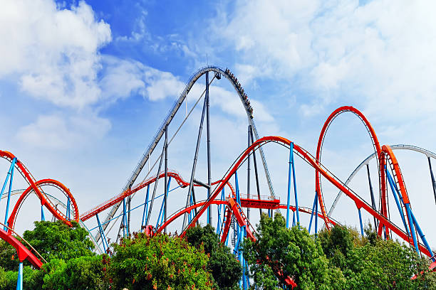 roller coaster in amusement  park. - roller coaster stock pictures, royalty-free photos & images
