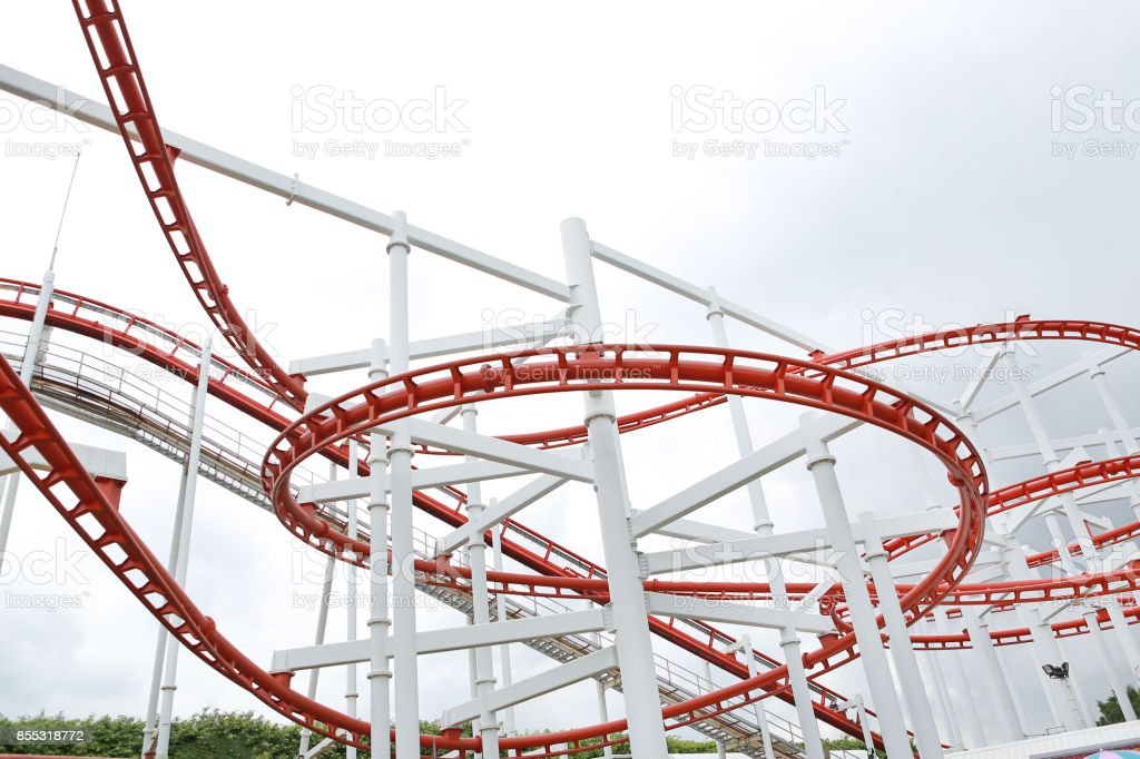 Roller coaster on cloud sky. stock photo