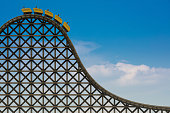3d rendering of a wooden roller coaster.