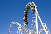 Roller coaster with clear blue sky