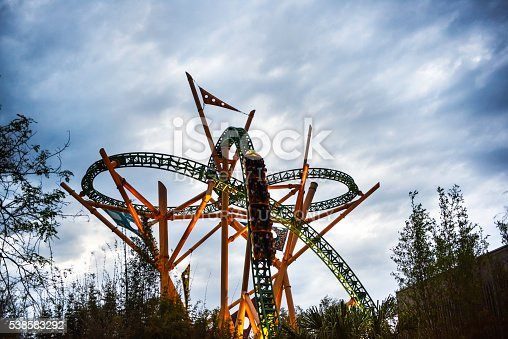 Tampa, USA - March 19, 2016: People were  riding a roller coaster in the Busch Gardens.