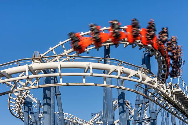 Roller coaster ride. stock photo