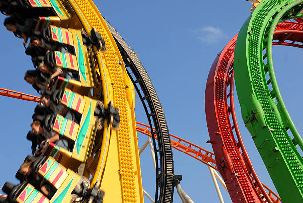 Roller coaster with loops stock photo