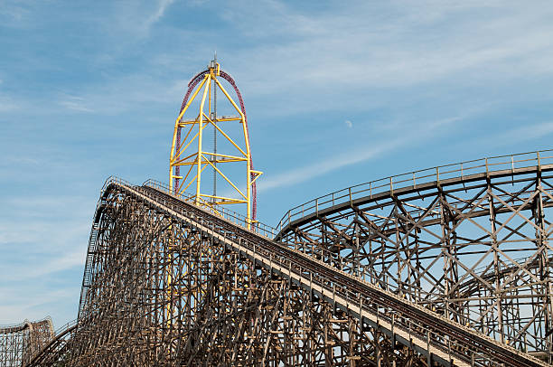 Roller coaster with moon at Cedar Point, Sandusky, Ohio stock photo