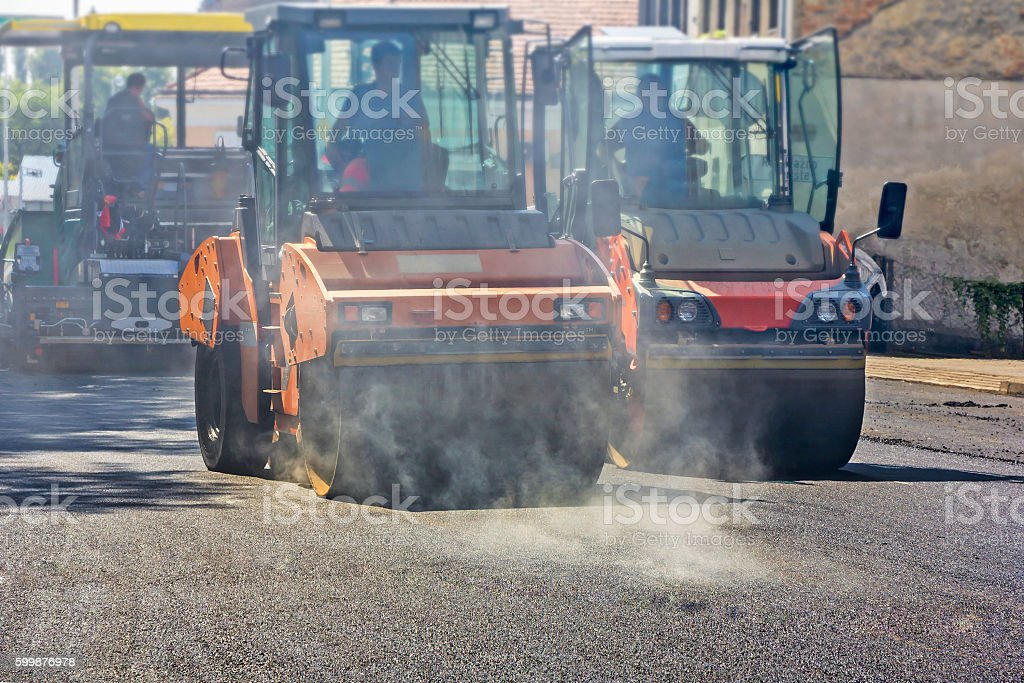 Roller compactor working stock photo