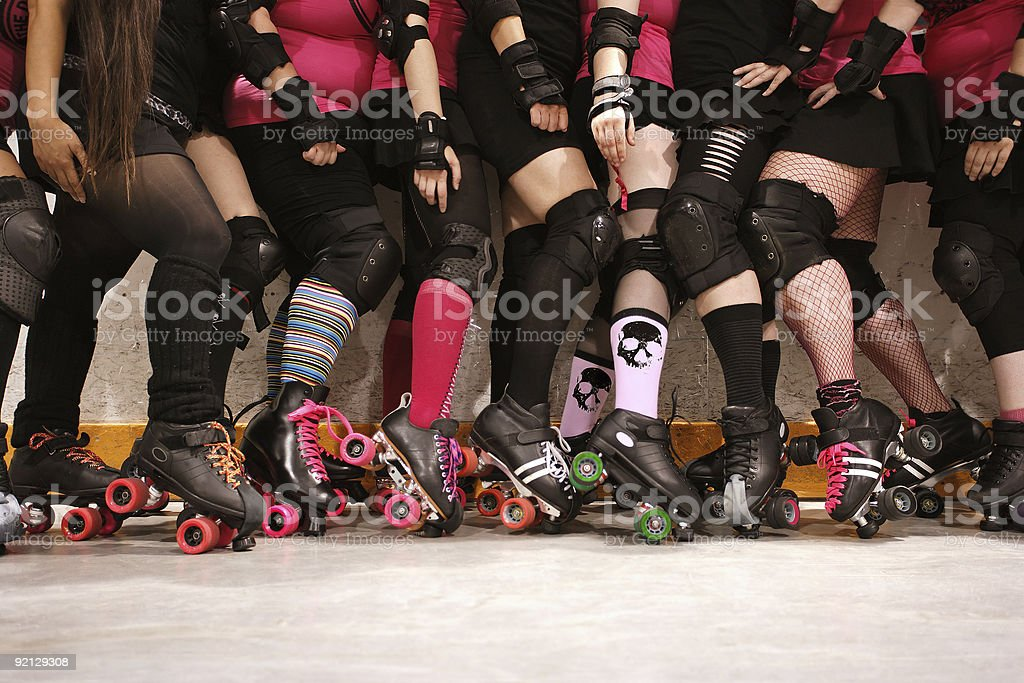 Roller derby team stock photo