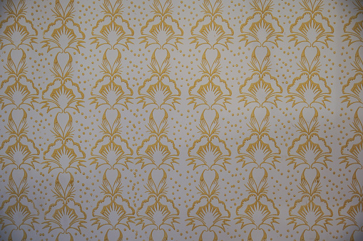Roller embossed wall paint pattern. Old folk motif room interior decoration. wallpaper