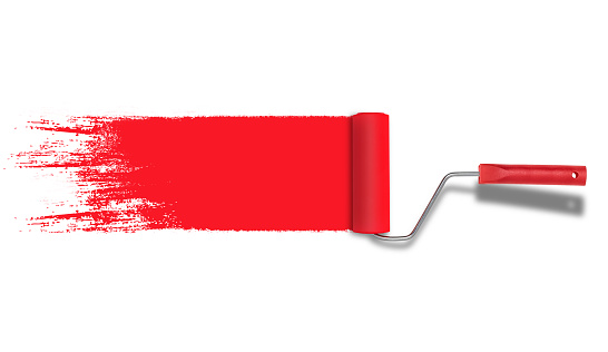 Roller painter with red paint stroke isolated on white background