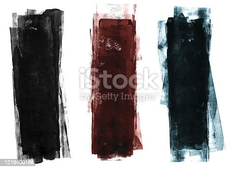 Three colored grungy roller painting strokes on white backdrop