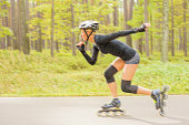 Woman roller skater in action