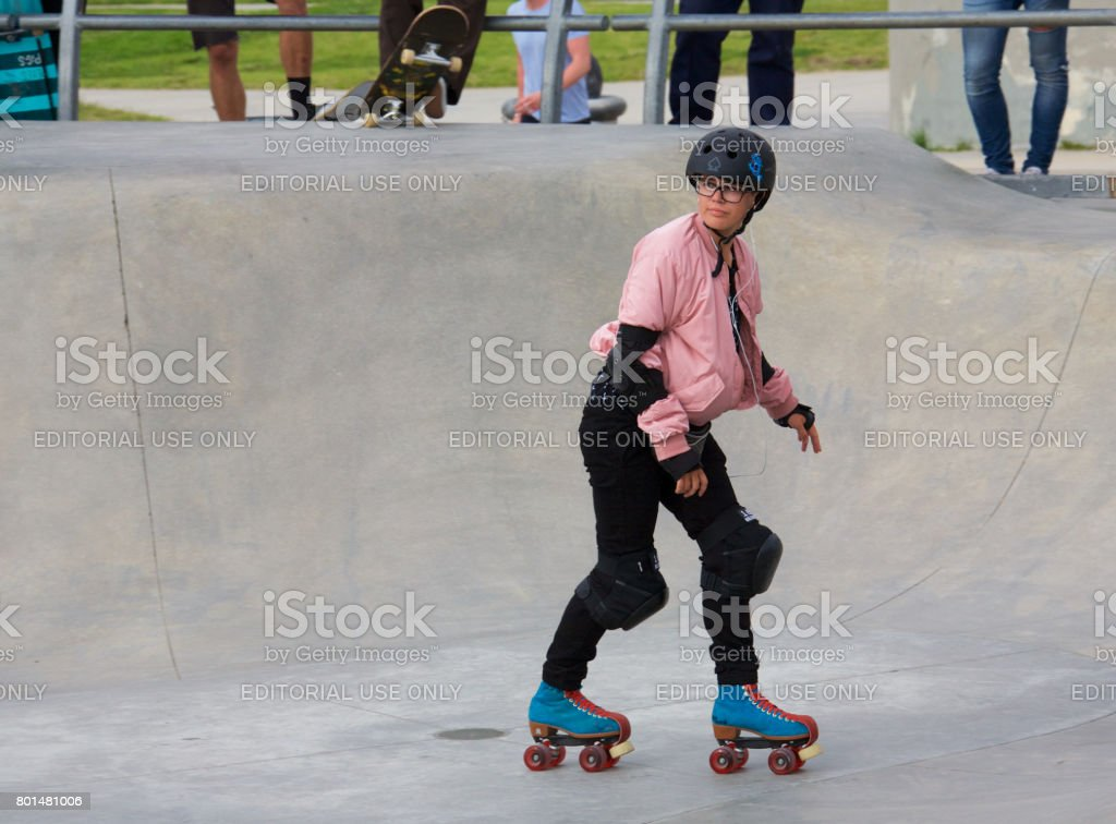 Roller skating at Venice Skate Park stock photo