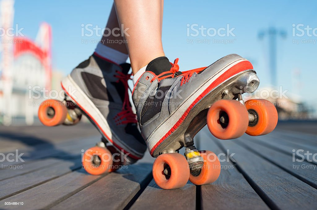 Roller skating outdoor stock photo