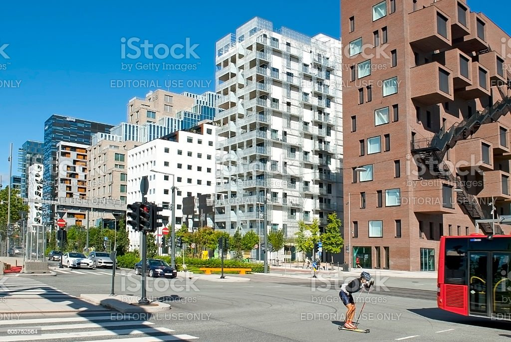 Roller skiing and Barcode in Oslo stock photo