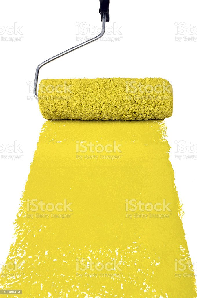 Roller With Yellow Paint royalty-free stock photo