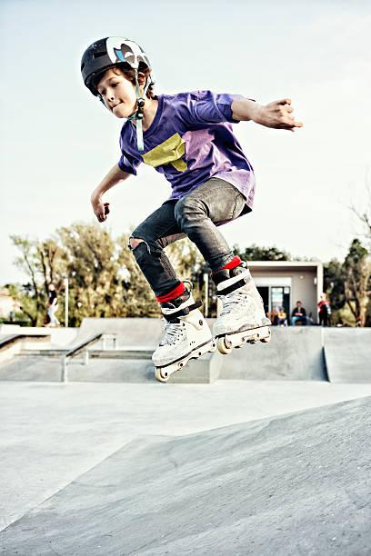rollerblade boy stock photo