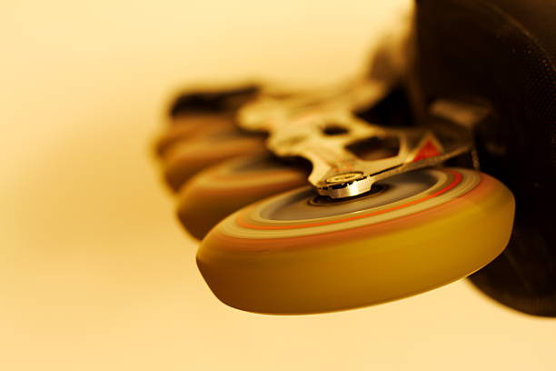 rollerblade wheels spinning - perpetual motion stock photos and pictures