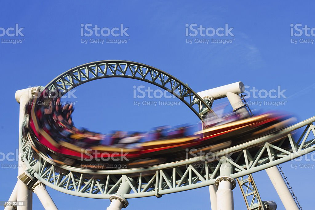 rollercoaster action stock photo