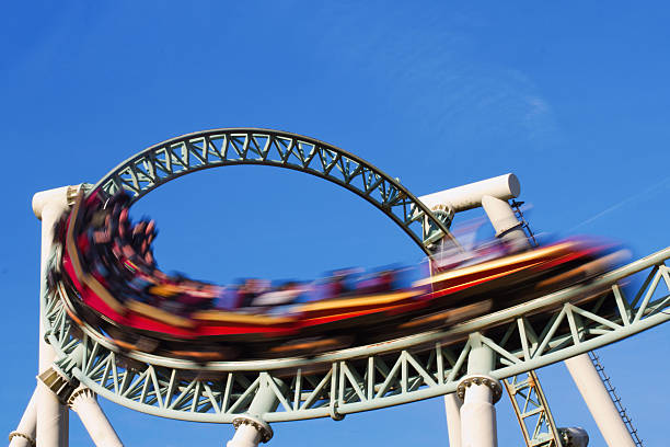 rollercoaster action - roller coaster stock pictures, royalty-free photos & images