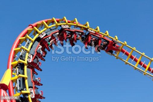 rollercoaster against blue sky, entertainment in amusement park