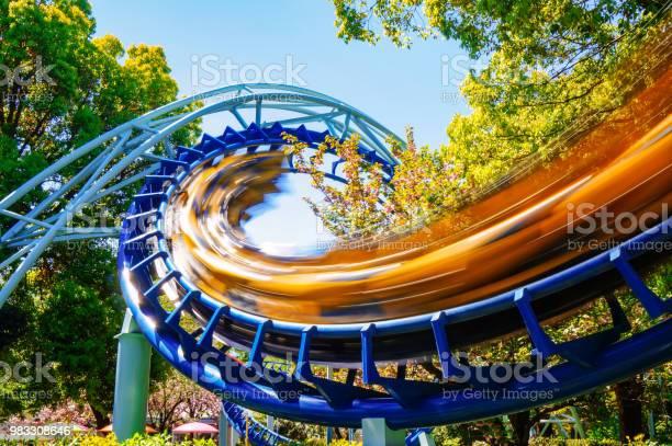 Rollercoaster at amusement park
