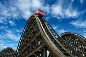 rollercoaster with blue sky