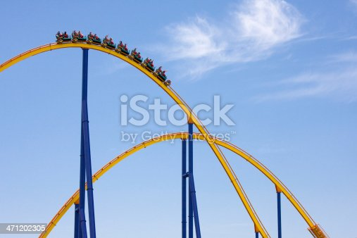 Huge Yellow Rollercoaster on Brilliant Blue sky with
