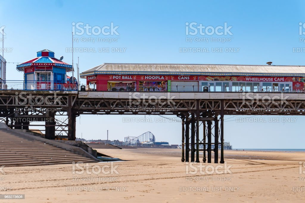Rollercoaster seen through the pier in Blackpool stock photo