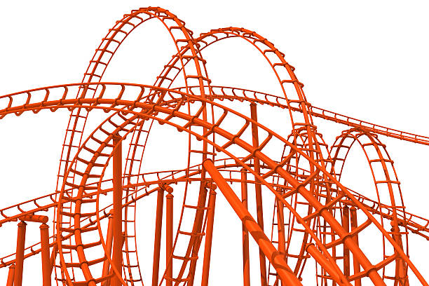 rollercoaster track - roller coaster stock pictures, royalty-free photos & images