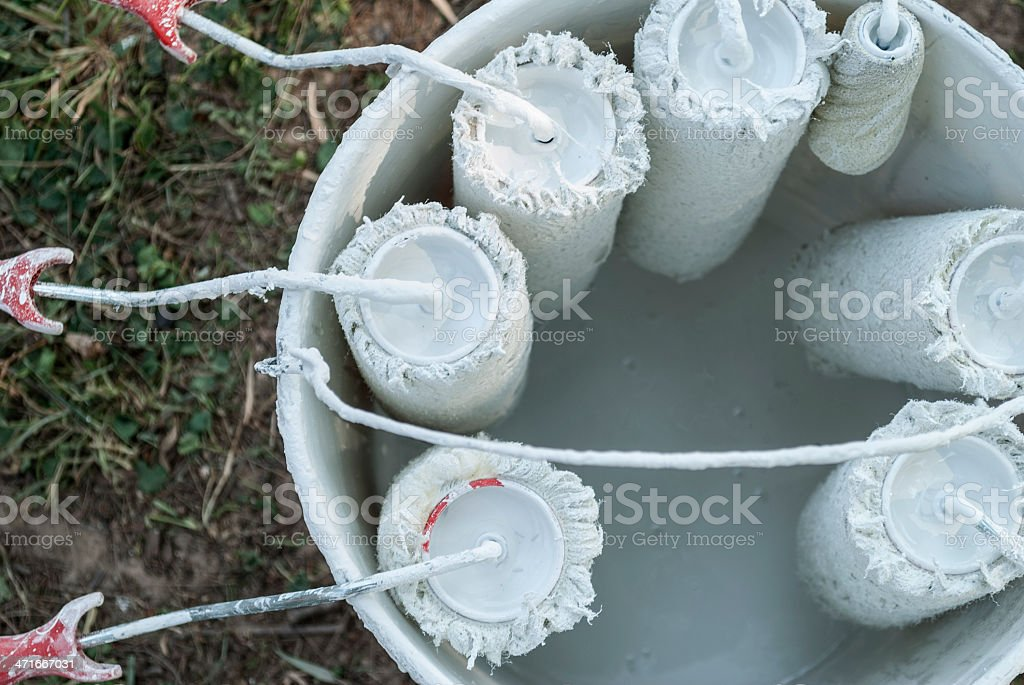 Rollers and paint bucket royalty-free stock photo